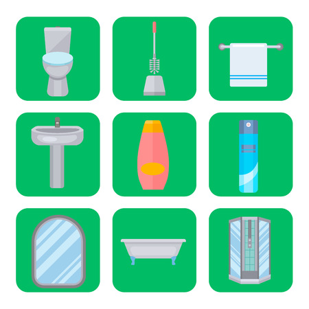 Bath equipment icon toilet bowl bathroom clean flat style, illustration hygiene design. Stock Vector - 99947057