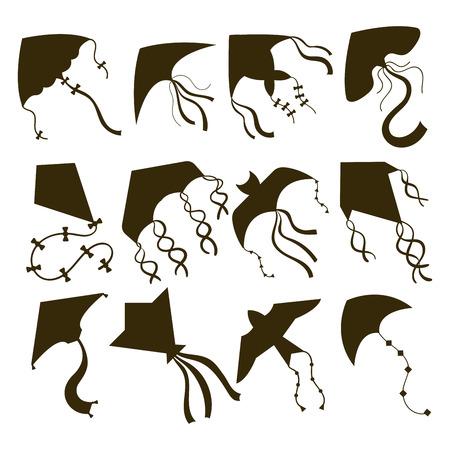 Flying kite snake, serpent dragon kids toy silhouette. Outdoor summer activity vector illustration.