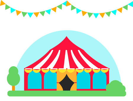 Circus show entertainment tent, marquee outdoor festival with stripes flags carnival vector illustration.