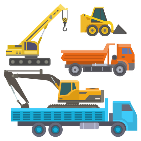 Construction delivery truck. Vector transportation vehicle construct and road trucking machine equipment. Large platform, industrial truck illustration.