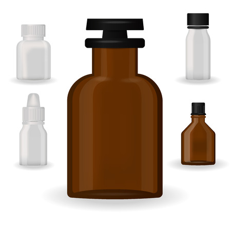 Bottle pack template mock-up, blank pharmaceutical blister of pills and capsules tube container for drugs. Clean plastic packaging for medication vector illustration.