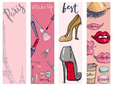 Fashion cosmetics accessories seamless pattern. Vector colors bright pink stylish fashioned vintage motive pastel illustration. Stok Fotoğraf - 99947066