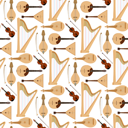 Stringed dreamed musical instruments, classical orchestra art sound tool, acoustic symphony seamless pattern background.