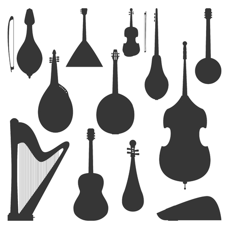 Stringed dreamed musical instruments silhouette. Classical orchestra art sound tool and acoustic symphony fiddle wooden equipment.