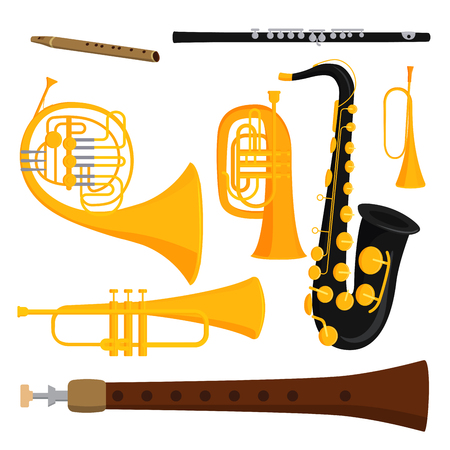 Wind musical instruments tools, acoustic musician equipment orchestra vector illustration. 矢量图像