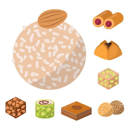 Sweets east delicious dessert food. Vector confectionery homemade assortment chocolate cake, tasty bakery sweetness delights illustration.