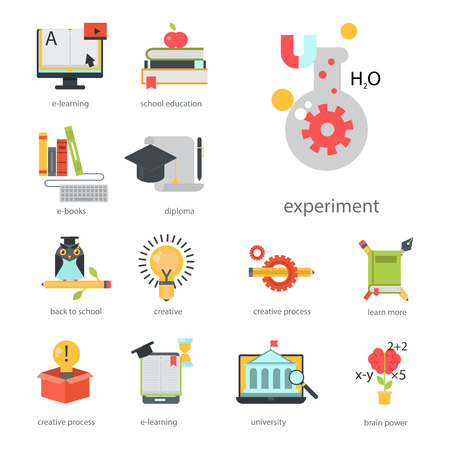 Distant learning flat design online education, video tutorials, staff training store, learning research knowledge. Archivio Fotografico - 99947097