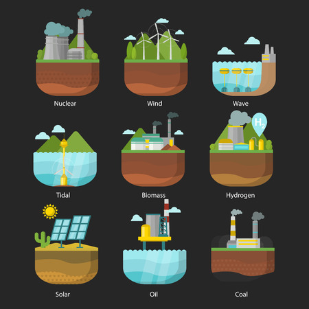 Generation energy types power plant. Vector renewable alternative source solar and tidal, wind and geothermal, biomass and wave illustration.