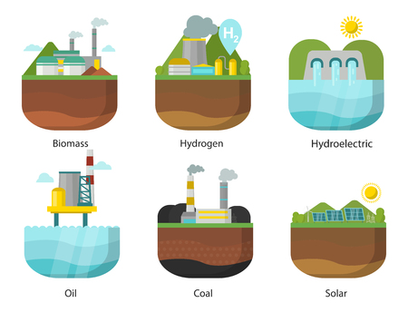 Generation energy types power plant. Vector renewable alternative source solar and tidal, wind and geothermal, biomass and wave illustration. Stock fotó - 99947100