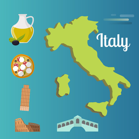 Italy travel map attraction tourist symbols sightseeing world italian architecture elements illustration.  イラスト・ベクター素材