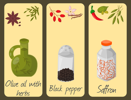 Spices condiments cards seasoning food herbs decorative healthy organic relish flavoring vegetable illustration. 일러스트