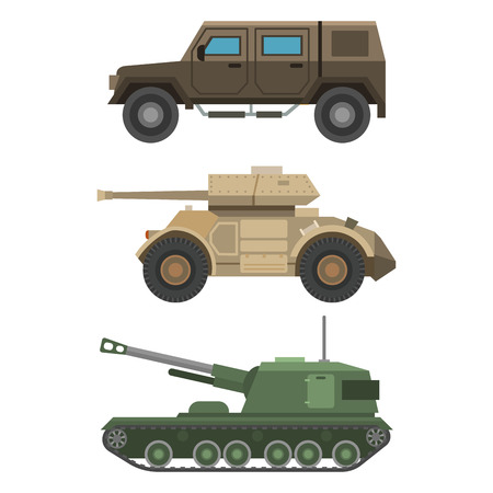 Military transport vehicle technic army war tanks and industry armor defense transportation weapon illustration.