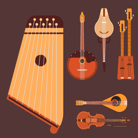 Set of stringed musical instruments classical orchestra art sound tool and acoustic symphony stringed fiddle wooden equipment illustration.
