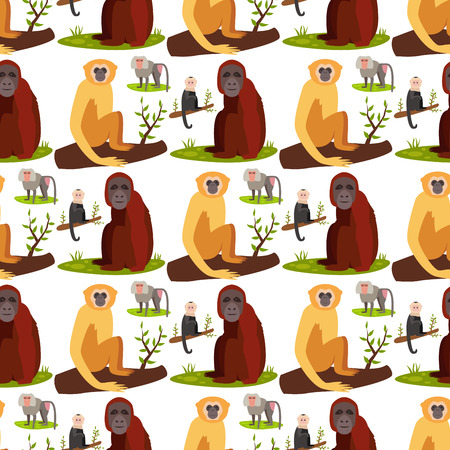 Monkey character animal breads pattern wild zoo ape chimpanzee illustration.
