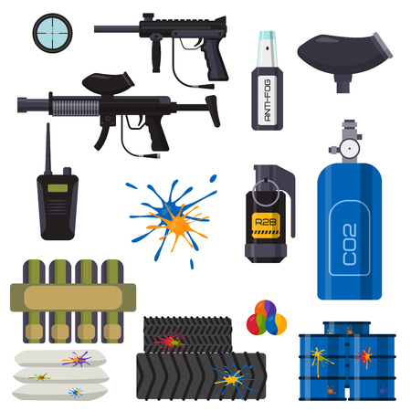 Paintball club icons protection uniform and sport game design elements equipment target illustration. Ilustração