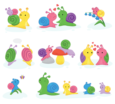 Snail vector snail-shaped character with shell and cartoon snailfish or snail-like mollusk kids illustration set of lovely couple of snail-paced slugs isolated on white background 스톡 콘텐츠 - 100031157