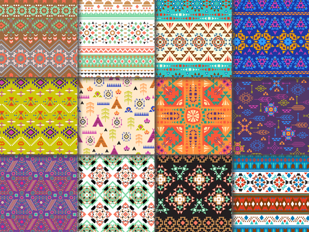 Tribal seamless pattern vector ethnic texture with abstract ornament and geometric print textile for decoration ornamental backdrop with triangles illustration background