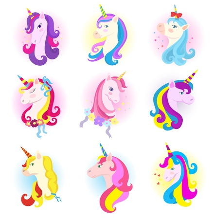 Unicorn vector cartoon horse character with magic horn and rainbow mane in children dreams illustration horsey set of fantasy colorful animal for kids isolated on white background Illustration