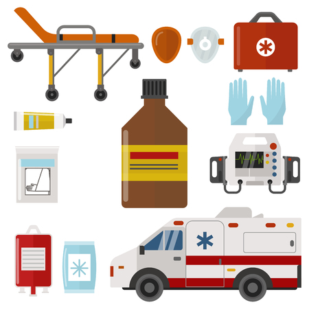 Ambulance icons medicine health emergency hospital urgent pharmacy medical support paramedic treatment vector illustration