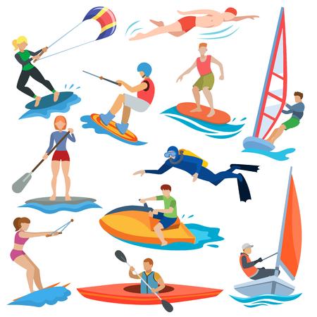 Gente de vector de deporte de agua en actividad extrema o windsurfista y kitesurfer ilustración conjunto de deportistas personajes nadadores surf o windsurf aislado sobre fondo blanco.