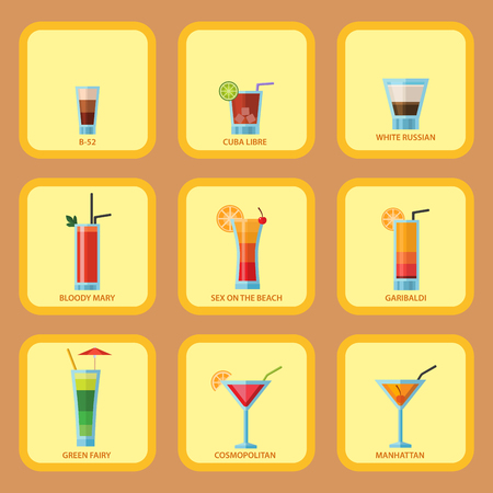 Set of alcoholic cocktails cards fruit cold drinks tropical cosmopolitan freshness party alcohol sweet tequila vector illustration.  イラスト・ベクター素材