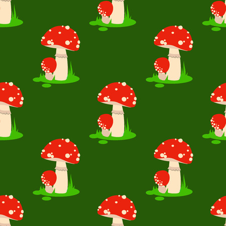 Seamless pattern background amanita mushrooms dangerous set vector poisonous season toxic fungus food illustration. Illusztráció