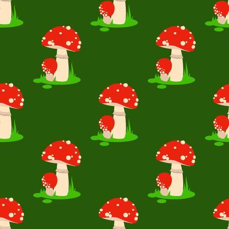 Seamless pattern background amanita mushrooms dangerous set vector poisonous season toxic fungus food illustration. Illustration