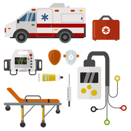 Ambulance icons medicine health emergency hospital urgent medical support paramedic treatment vector illustration