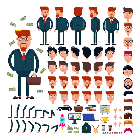 Businessman constructor vector creation of male character business suit with manlike hairstyle head and face emotions illustration set of mans body with hands legs isolated on white background Çizim