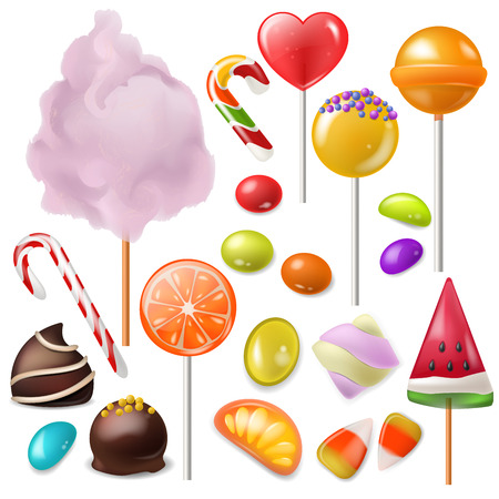 Candy vector sweet food dessert lollipop or caramel bonbon in confectionery or candy shop illustration. Set of candyfloss and sweetie cane sugar, isolated on white background.