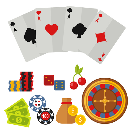 Casino icons set with roulette gambler joker slot machine poker game illustration.