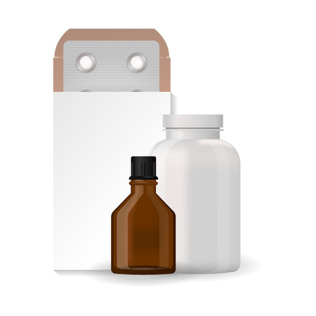 Bottle pack template mockup blank pharmaceutical blister of pills and capsules tube container for drugs clean plastic packaging for medication vector illustration. Stock Illustratie