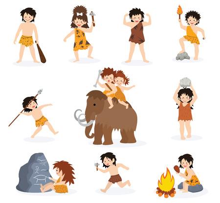Los niños cavernícolas vector el carácter de los niños primitivos y el niño prehistórico con el arma apedreada en la ilustración del mamut. Conjunto de niño o niña antiguo en la edad de piedra aislado sobre fondo blanco.