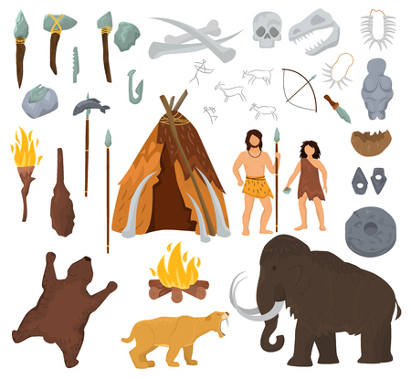 Primitive people vector mammoth and ancient caveman character in stone age cave illustration. Prehistoric man with stoned weapon and flame set. Иллюстрация