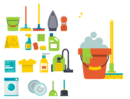 Cleaning service emblems labels design home household symbol. Work brush vector illustration. Stock Vector - 100973826