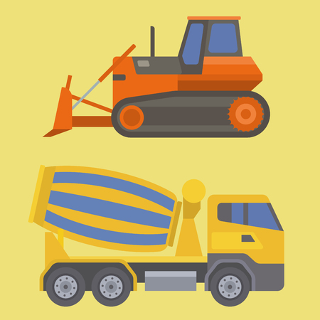 Construction delivery truck vector transportation vehicle construct and road trucking machine equipment. Large platform industrial truck illustration. Иллюстрация