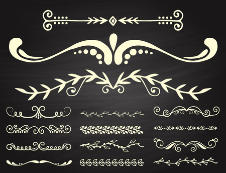 Text separator decorative divider book typography ornament design elements. Vector vintage dividing shapes illustration.