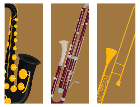 Wind musical instruments cards tools acoustic musician equipment orchestra vector illustration
