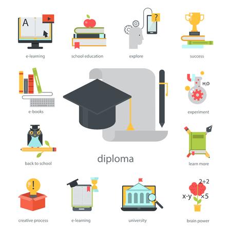 Aprendizaje distante diseño plano educación en línea videos tutoriales tienda de capacitación de personal aprendizaje ilustración de vector de conocimiento de investigación.