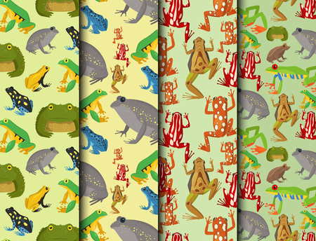 Frog vector cartoon tropical wildlife animal green froggy nature funny illustration toxic toad amphibian seamless pattern background. Illustration