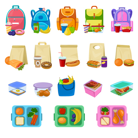 白い背景に分離されたパックされた食事のソーセージやパンの子供の容器イラストセットで箱詰めされた健康的な食べ物や野菜とランチボックスベクトル学校の弁当箱 写真素材 - 100957076