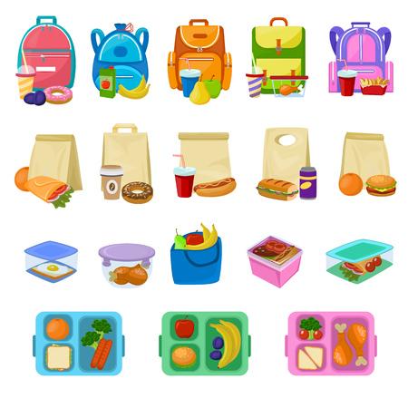 Lunch box wektor szkolny lunchbox ze zdrową żywnością owoce lub warzywa w pudełku dla dzieci pojemnik ilustracja zestaw zapakowanych kiełbasek lub chleba na białym tle