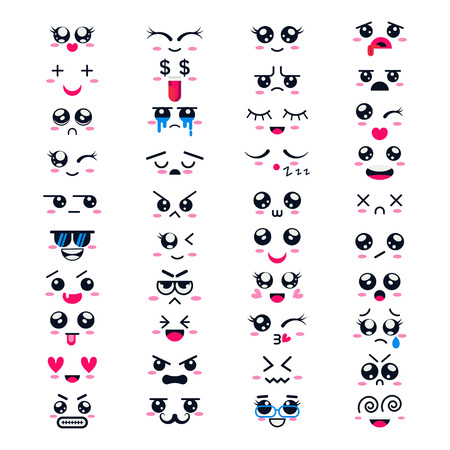 Kawaii vector cartoon emoticon character with different emotions and face expression collection illustration emotional set of japanese emoji and emotive feelings isolated on white background Illustration