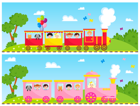 Kids train vector cartoon toy with colorful locomotive blocks railroad carriage game fun leisure joy gift children transport illustration.