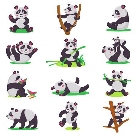 Personaje de oso panda niño vector o niño oso chino jugando o comiendo bambú conjunto de ilustración de panda gigante de dibujos animados aislado sobre fondo blanco