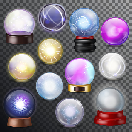Magic ball vector magical crystal glass sphere and shiny lightning transparent orb as prediction soothsayer illustration magnificent set isolated on transparent background Stockfoto - 100957084