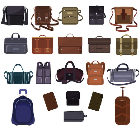 Man bag vector manlike fashion handbag or business briefcase and leather notecase or wallet of businessman illustration bagged set of male baggy accessory bagpack isolated on white background
