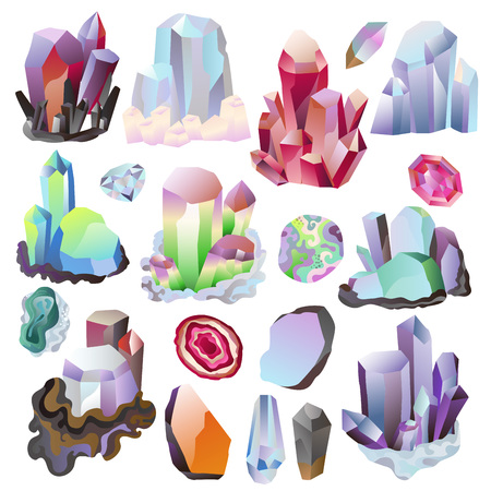 Crystal vector crystalline stone or precious gemstone for jewellery illustration set of jewel gem or mineral stony crystallization of natural quartz isolated on white background