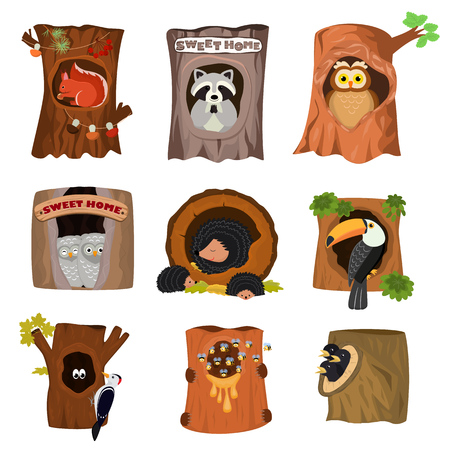 Animals in hollow vector animalistic character in tree hollowed hole illustration set of birds owl with owlets on treetops and squirrels or hedgehogs in hollowtree isolated on white background