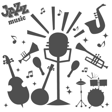 Jazz musical instruments tools silhouette icons jazzband piano saxophone music sound vector illustration rock concert note.